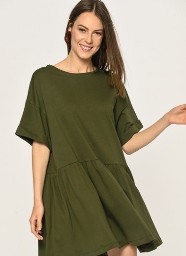 Loves You Kısa Kol Volanlı Penye Elbise Haki
